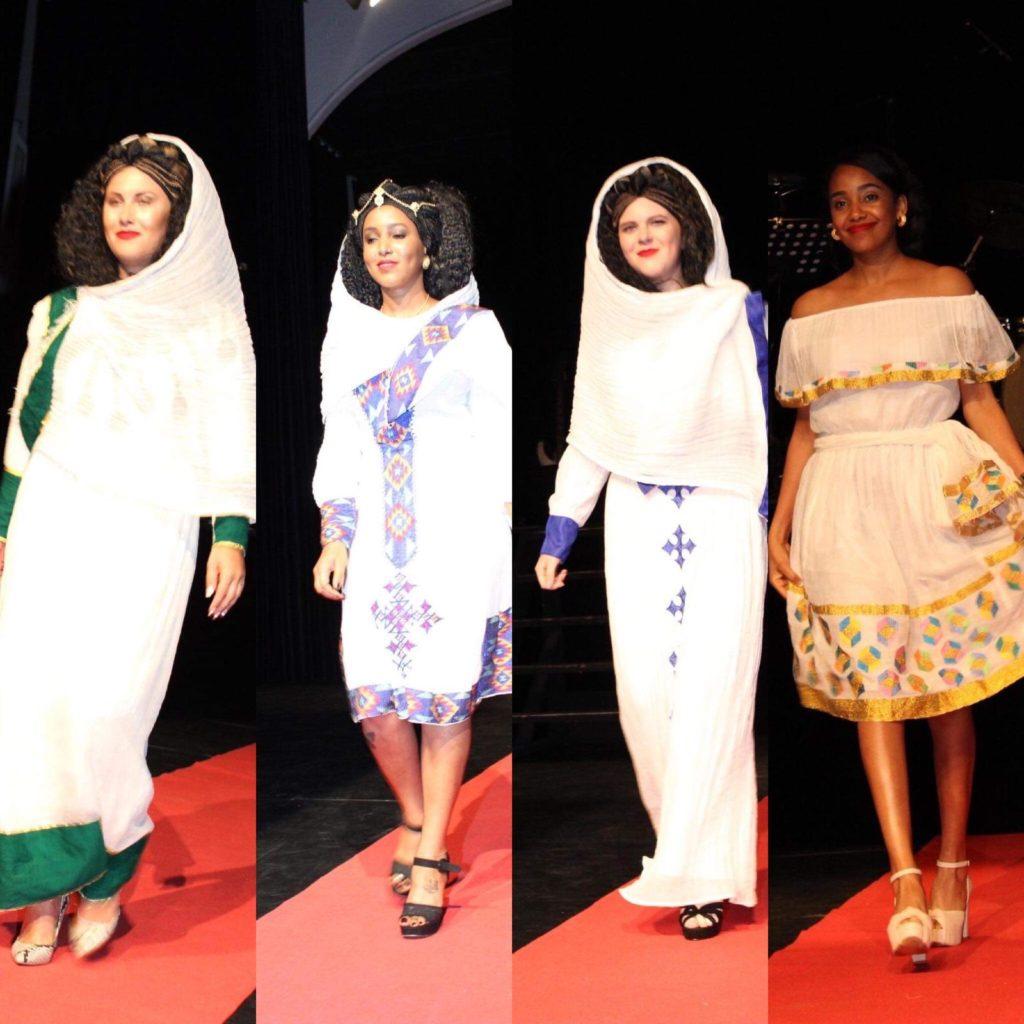 Modeshow - Eritrese en Nederlandse dames samen traditie kleding van Eritrea tonen